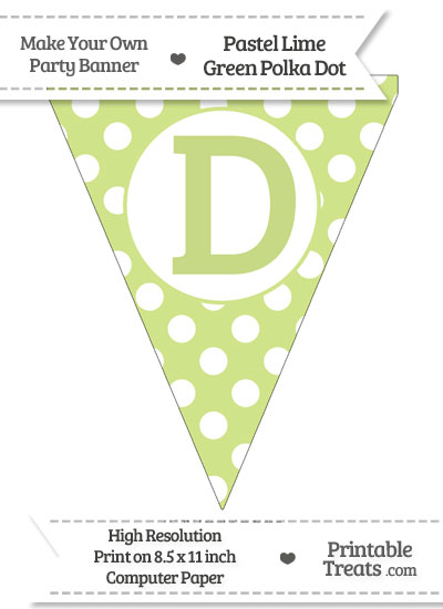 Pastel Lime Green Polka Dot Pennant Flag Capital Letter D from PrintableTreats.com