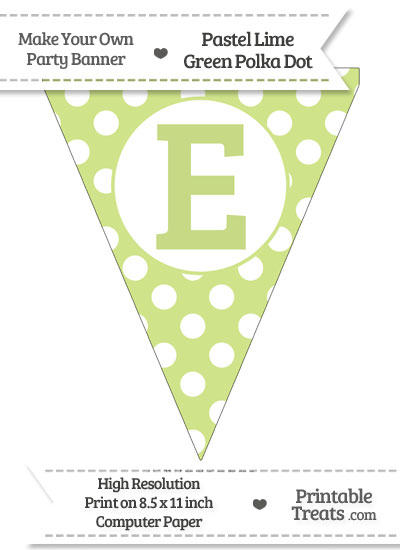 Pastel Lime Green Polka Dot Pennant Flag Capital Letter E from PrintableTreats.com