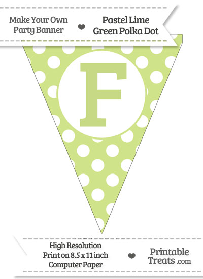 Pastel Lime Green Polka Dot Pennant Flag Capital Letter F from PrintableTreats.com