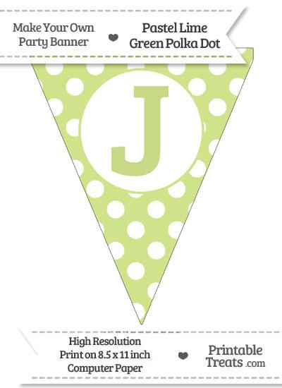 Pastel Lime Green Polka Dot Pennant Flag Capital Letter J from PrintableTreats.com