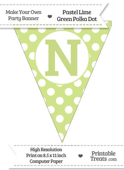 Pastel Lime Green Polka Dot Pennant Flag Capital Letter N from PrintableTreats.com