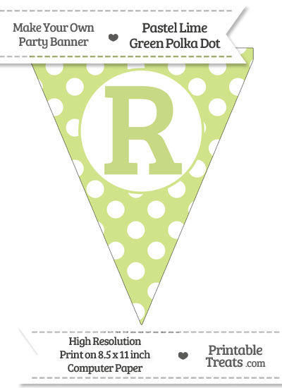 Pastel Lime Green Polka Dot Pennant Flag Capital Letter R from PrintableTreats.com