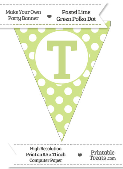 Pastel Lime Green Polka Dot Pennant Flag Capital Letter T from PrintableTreats.com