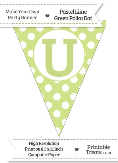 Pastel Lime Green Polka Dot Pennant Flag Capital Letter U from PrintableTreats.com