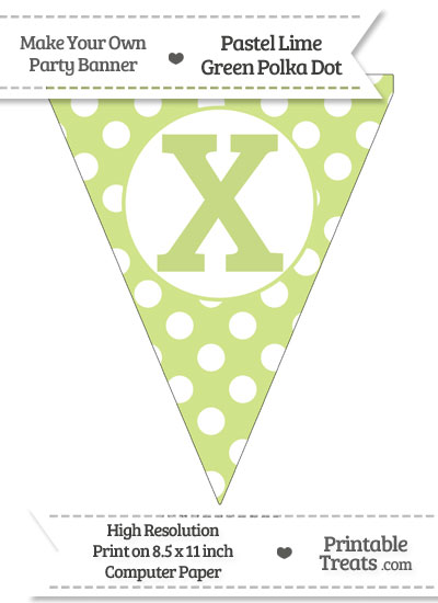 Pastel Lime Green Polka Dot Pennant Flag Capital Letter X from PrintableTreats.com
