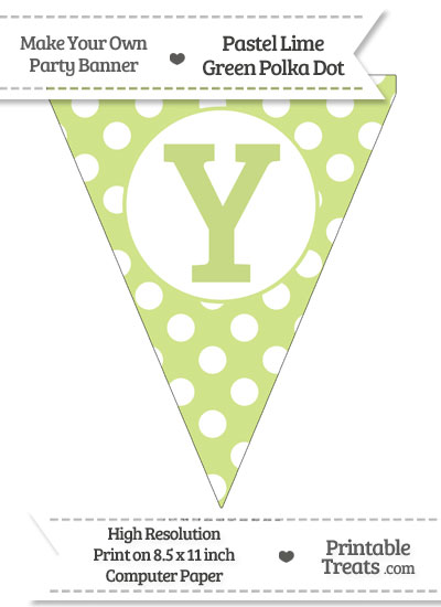 Pastel Lime Green Polka Dot Pennant Flag Capital Letter Y from PrintableTreats.com
