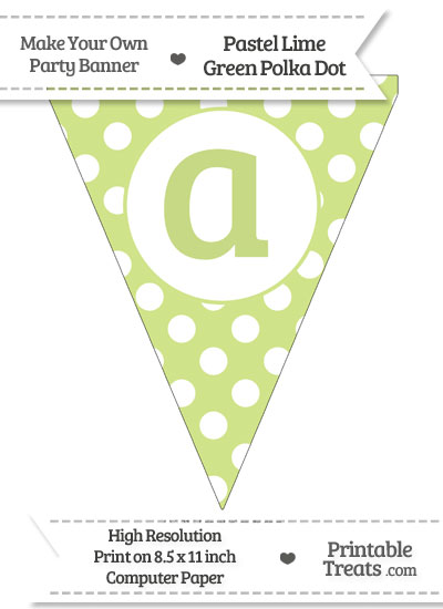 Pastel Lime Green Polka Dot Pennant Flag Lowercase Letter A from PrintableTreats.com