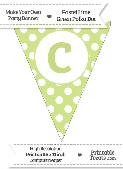 Pastel Lime Green Polka Dot Pennant Flag Lowercase Letter C from PrintableTreats.com