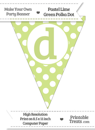Pastel Lime Green Polka Dot Pennant Flag Lowercase Letter D from PrintableTreats.com