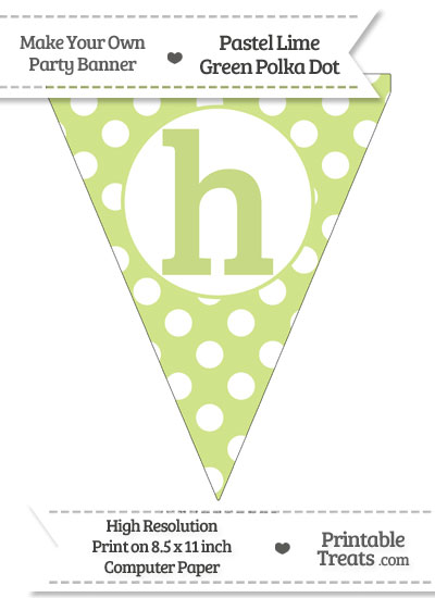 Pastel Lime Green Polka Dot Pennant Flag Lowercase Letter H from PrintableTreats.com