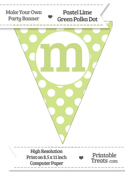 Pastel Lime Green Polka Dot Pennant Flag Lowercase Letter M from PrintableTreats.com