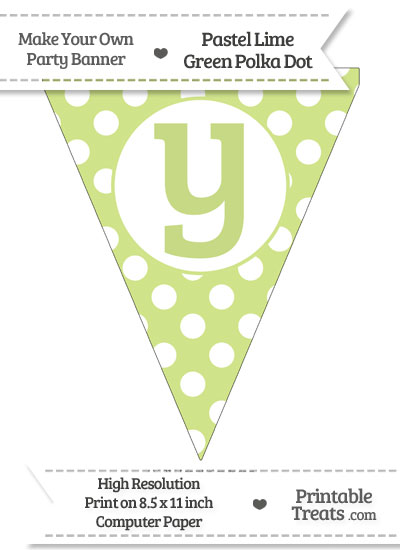 Pastel Lime Green Polka Dot Pennant Flag Lowercase Letter Y from PrintableTreats.com