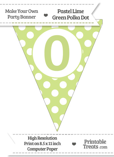 Pastel Lime Green Polka Dot Pennant Flag Number 0 from PrintableTreats.com