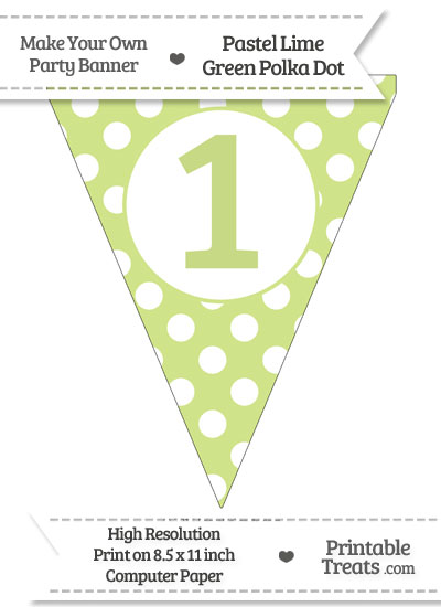 Pastel Lime Green Polka Dot Pennant Flag Number 1 from PrintableTreats.com