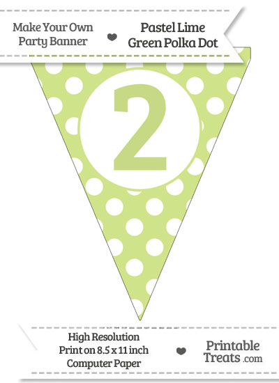 Pastel Lime Green Polka Dot Pennant Flag Number 2 from PrintableTreats.com