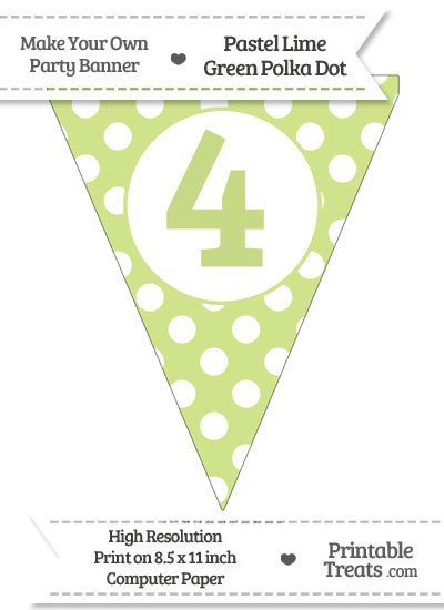 Pastel Lime Green Polka Dot Pennant Flag Number 4 from PrintableTreats.com