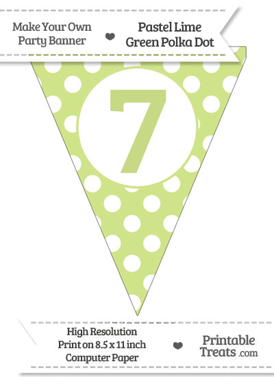 Pastel Lime Green Polka Dot Pennant Flag Number 7 from PrintableTreats.com