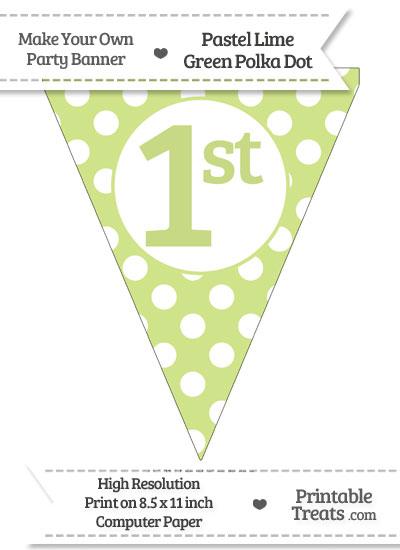 Pastel Lime Green Polka Dot Pennant Flag Ordinal Number 1st from PrintableTreats.com