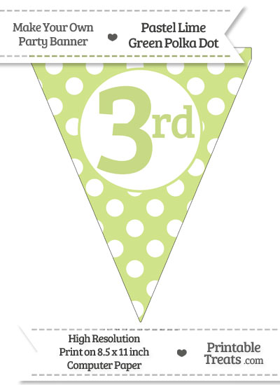 Pastel Lime Green Polka Dot Pennant Flag Ordinal Number 3rd from PrintableTreats.com