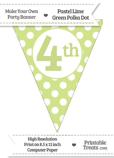Pastel Lime Green Polka Dot Pennant Flag Ordinal Number 4th from PrintableTreats.com