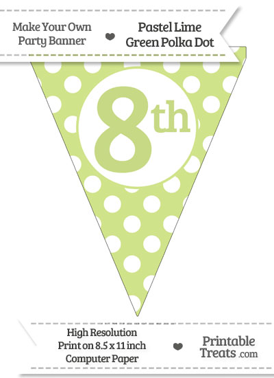 Pastel Lime Green Polka Dot Pennant Flag Ordinal Number 8th from PrintableTreats.com