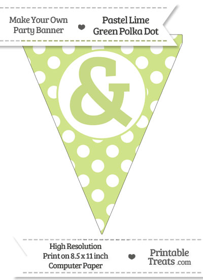 Pastel Lime Green Polka Dot Pennant Flag with Ampersand from PrintableTreats.com