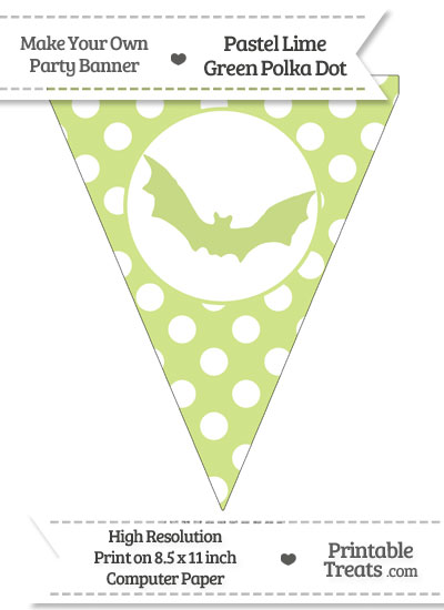 Pastel Lime Green Polka Dot Pennant Flag with Bat from PrintableTreats.com