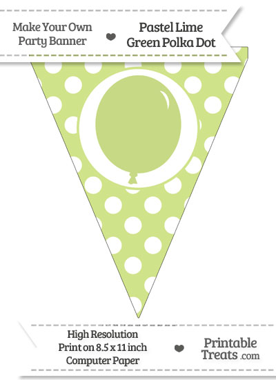 Pastel Lime Green Polka Dot Pennant Flag with Birthday Balloon from PrintableTreats.com