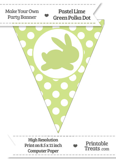 Pastel Lime Green Polka Dot Pennant Flag with Bunny Facing Right from PrintableTreats.com