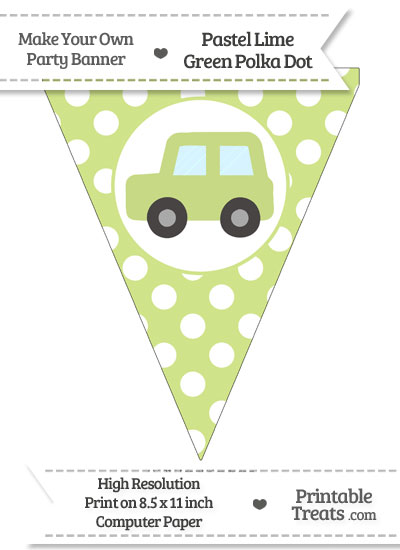 Pastel Lime Green Polka Dot Pennant Flag with Car Facing Left from PrintableTreats.com