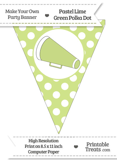 Pastel Lime Green Polka Dot Pennant Flag with Cheer Megaphone Facing Left from PrintableTreats.com