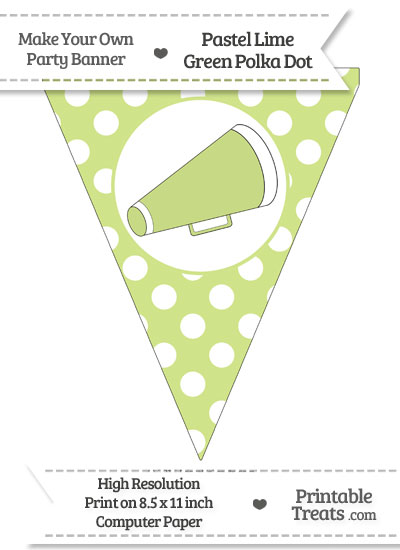 Pastel Lime Green Polka Dot Pennant Flag with Cheer Megaphone Facing Right from PrintableTreats.com