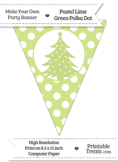 Pastel Lime Green Polka Dot Pennant Flag with Christmas Tree from PrintableTreats.com
