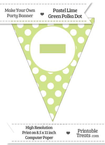 Pastel Lime Green Polka Dot Pennant Flag with Dash from PrintableTreats.com