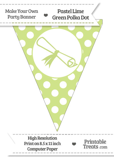 Pastel Lime Green Polka Dot Pennant Flag with Diploma from PrintableTreats.com