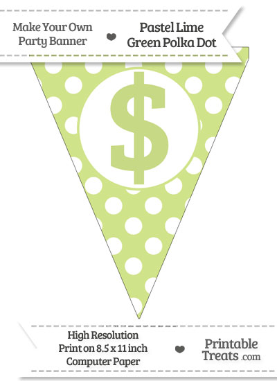 Pastel Lime Green Polka Dot Pennant Flag with Dollar Sign from PrintableTreats.com