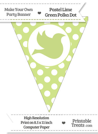 Pastel Lime Green Polka Dot Pennant Flag with Dove Facing Right from PrintableTreats.com