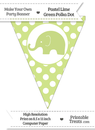 Pastel Lime Green Polka Dot Pennant Flag with Elephant Facing Left from PrintableTreats.com