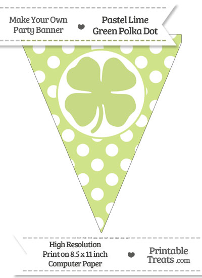 Pastel Lime Green Polka Dot Pennant Flag with Four Leaf Clover Facing Right from PrintableTreats.com