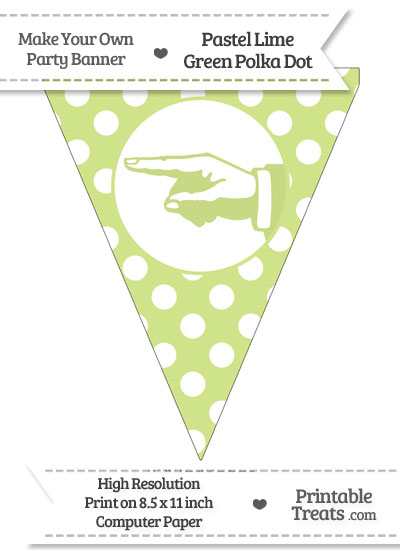 Pastel Lime Green Polka Dot Pennant Flag with Hand Pointing Left from PrintableTreats.com