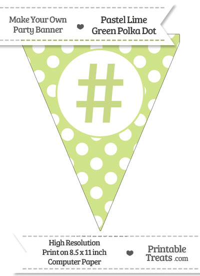 Pastel Lime Green Polka Dot Pennant Flag with Hash Character from PrintableTreats.com