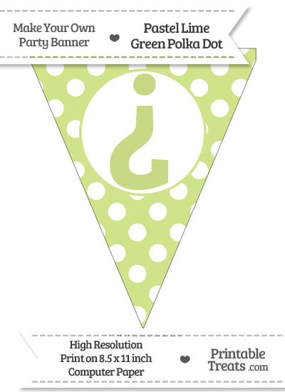 Pastel Lime Green Polka Dot Pennant Flag with Inverted Question Mark from PrintableTreats.com