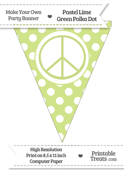 Pastel Lime Green Polka Dot Pennant Flag with Peace Sign from PrintableTreats.com