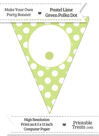 Pastel Lime Green Polka Dot Pennant Flag with Period from PrintableTreats.com