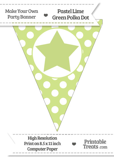 Pastel Lime Green Polka Dot Pennant Flag with Star from PrintableTreats.com