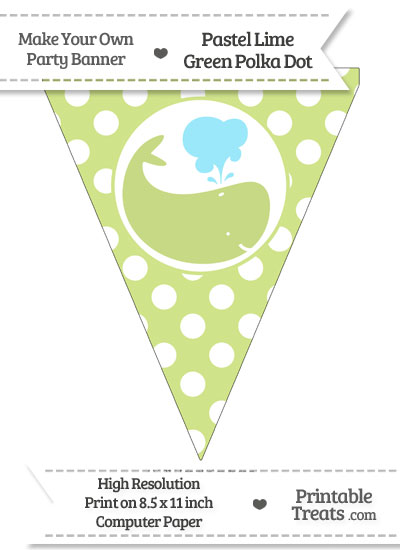 Pastel Lime Green Polka Dot Pennant Flag with Whale Facing Right from PrintableTreats.com
