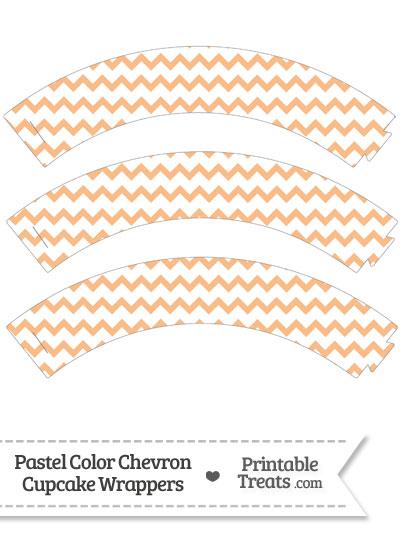 Pastel Orange Chevron Cupcake Wrappers from PrintableTreats.com