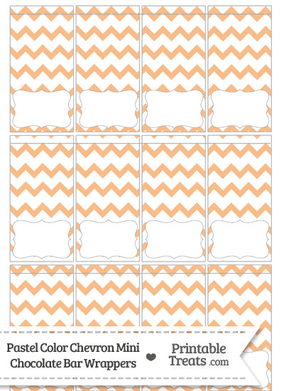 Pastel Orange Chevron Mini Chocolate Bar Wrappers from PrintableTreats.com