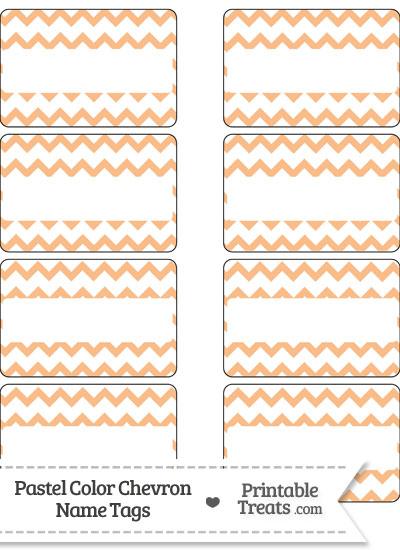 Pastel Orange Chevron Name Tags from PrintableTreats.com