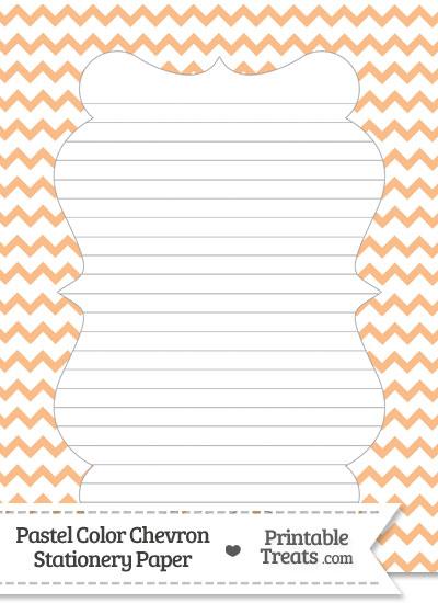 Pastel Orange Chevron Stationery Paper from PrintableTreats.com